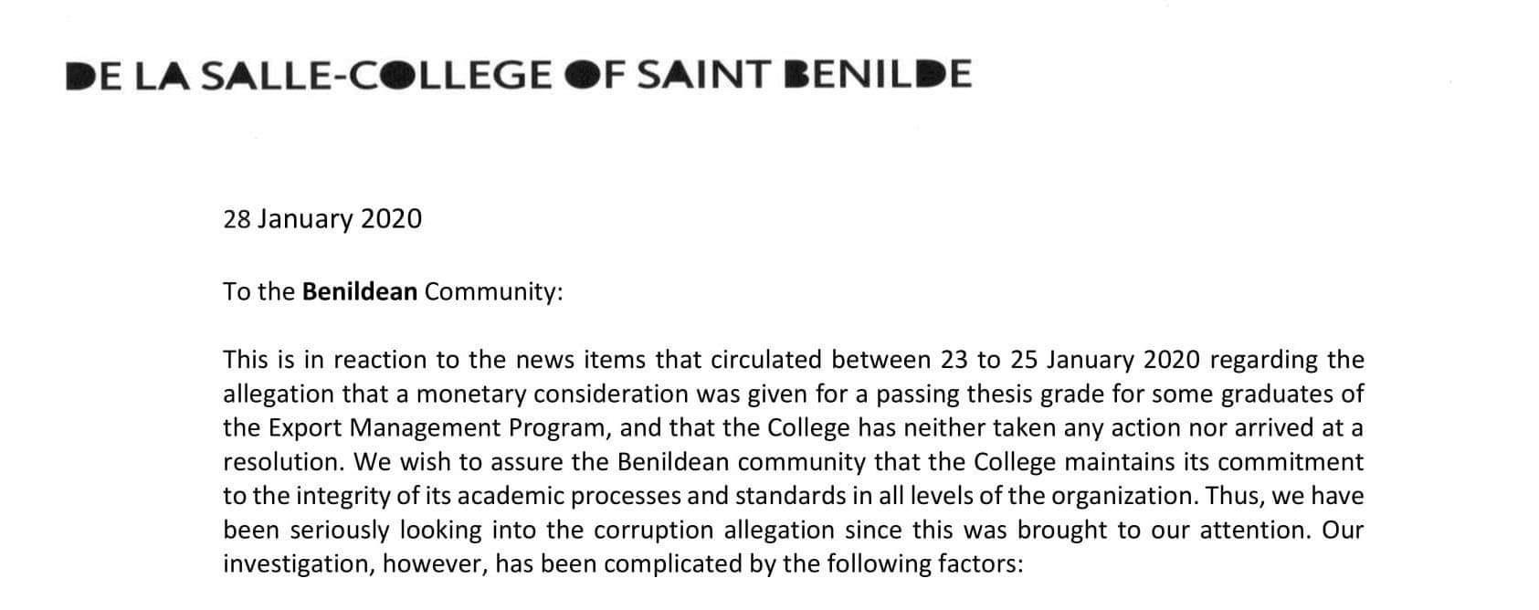 Official Statement from Benilde Chancellor Robert Tang